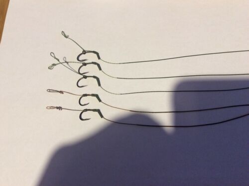 5x Blowback carp hair rigs Teflon hooks and Suffix coated braid