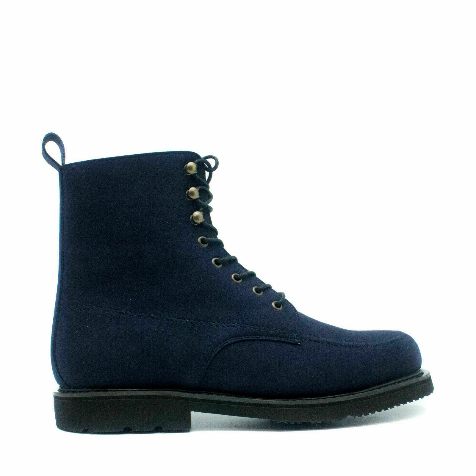 Mid-Calf boot toe in vegan leather suede-like with Goodyear sewn & breathable