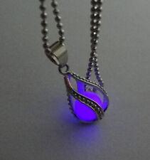 Purple Glow in the Dark Teardrop Mermaid Tear Locket Pendant Necklace