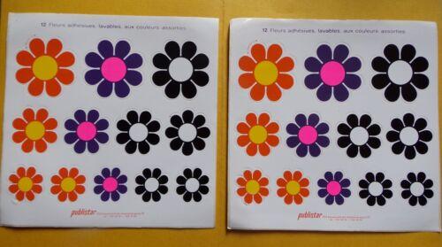 lavables § lot 2 planches x 12 fleurs adhésives