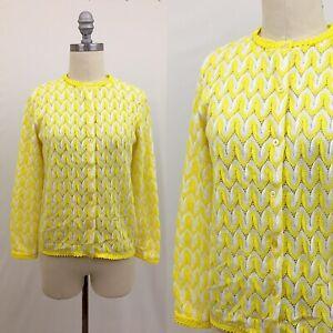 Vintage-60s-Pointelle-Knit-Yellow-Cardigan-Size-Medium