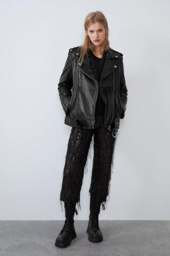 Women's Zara Oversized Black Genuine Leather Biker