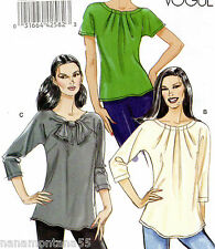 Vogue 8534*Front Pleats or Tie-Kimono Sleeve Knit Blouse Top Pattern 14-22 FF