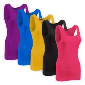 Womens-Ladies-Solid-Casual-Vest-Top-Assorted-Colours-Stretch-Cotton-T-Shirt-Cami