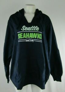 brand new 9c52c 96832 Details about Seattle Seahawks NFL Womens NFL Team Apparel Navy Pullover  Notch Hoodie 1X 2XL