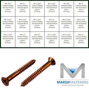 #8 X 1-1//2 Wood Screws Oval Slot Silicon Bronze 10 pcs