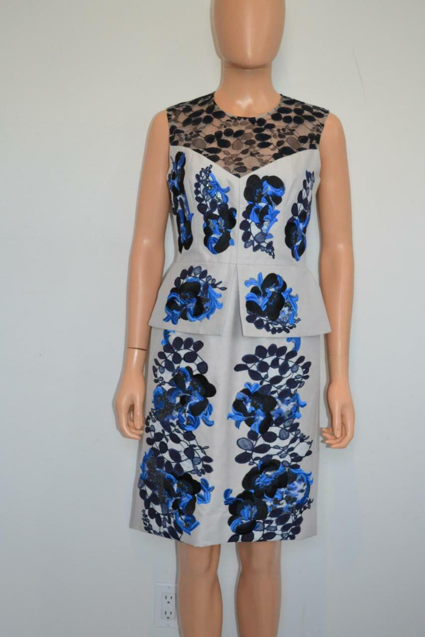Erdem Grey Cotton Blend Embroidered Lace Peplum Dress, Size US 6