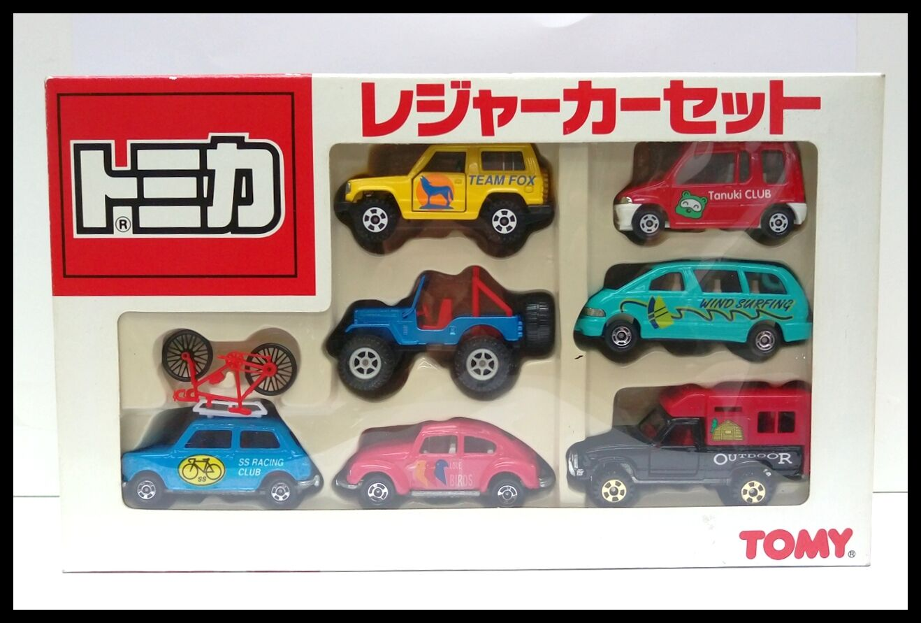 TOMICA BOX SET 7 Models MINI JEEP HILUX BEETLE PAJERO Estima MADE IN JAPAN TOMY