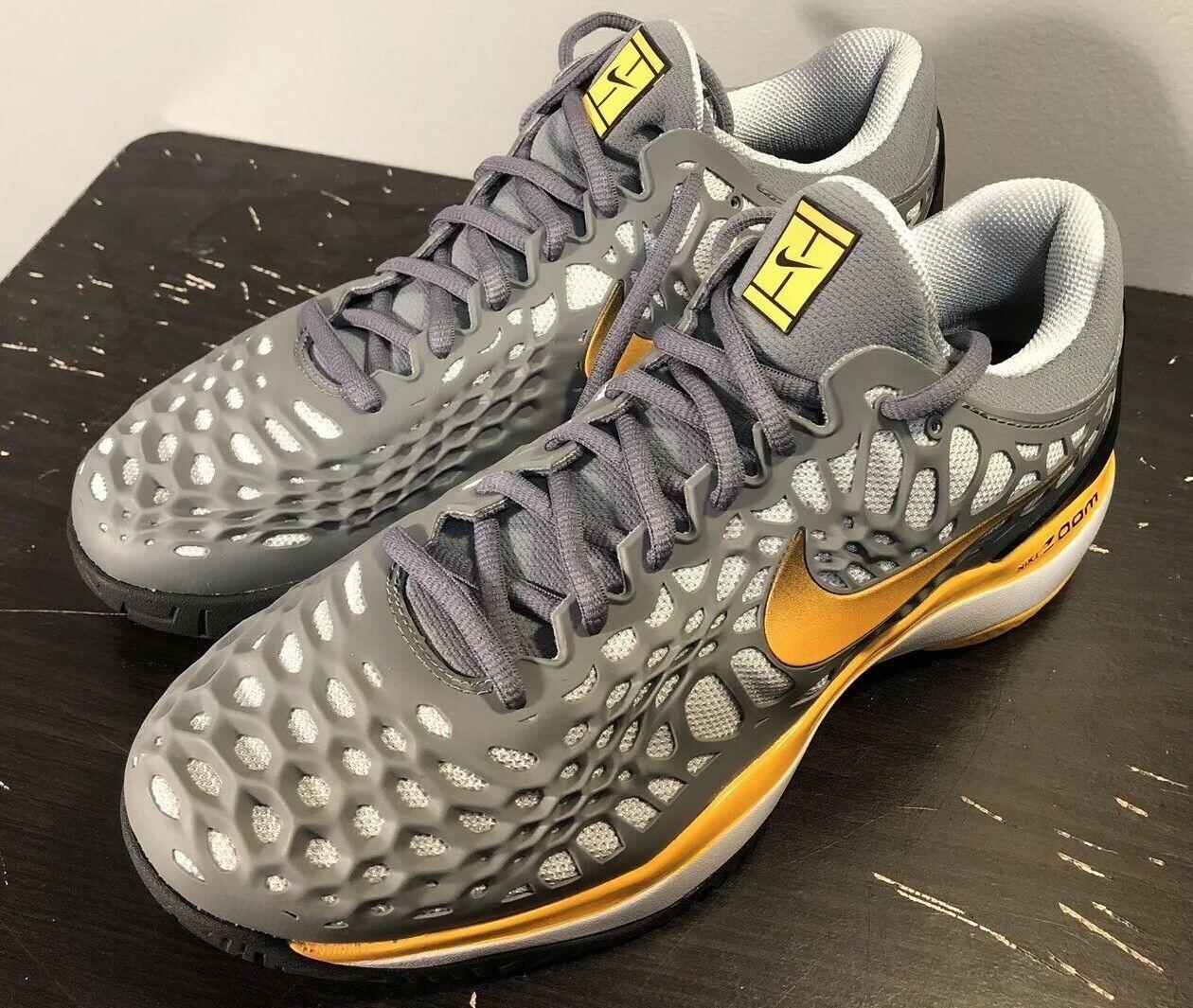 10 Men's Nike Air Zoom Cage 3 HC 918193 003 White Black yellow grey Tennis sport