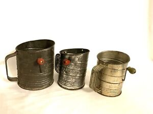 Vtg Bromwell's Set Of 3 Flour Measuring Sifter ~ Metal with Wood Knob on Crank