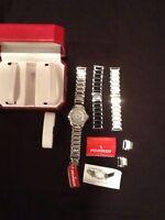Peugeot Silver/white/blk Interchangeable Strap Crystal Bezel Watch $124 Msrp