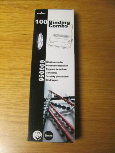 100x PAVO Plastikbinderücken Spiralbindung Binding-Combs 21Ring A4 6 mm Schwarz