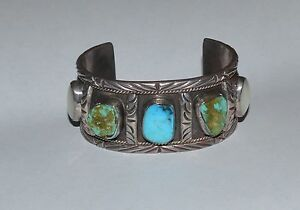 Image Is Loading Native American Navajo Sterling Silver Turquoise Mother Of