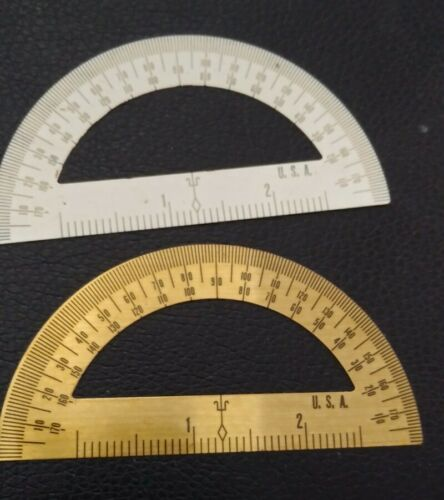 2 Vintage Metal Protractor White and Gold Color Measurements Math FREE SHIPPING