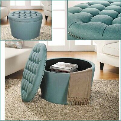 Teal Storage Ottoman Table Coffee Large Round Ottomans Tufted Linen Upholstery Ebay