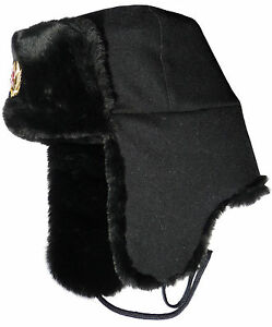 Russian Navy seaman ushanka winter hat. Black wool top. Trapper ... 24c8235d1bfe