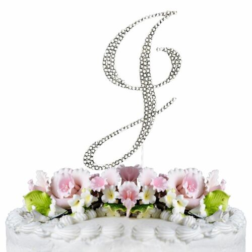Rhinestone Silver Crystal Covered Monogram Letter Initial Wedding Cake Topper