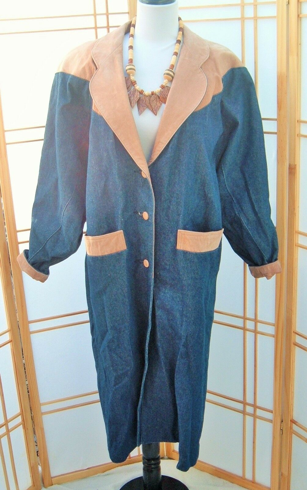 Vintage Cowgirl Duster Coat Womens Western Diamond Denim and Leather sz M USA