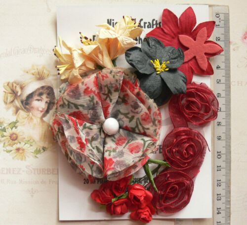 RED BLACK /& CREAM 15 Flowers /& Roses 7 Styles PAPER /& SILK 15-70mm VA2