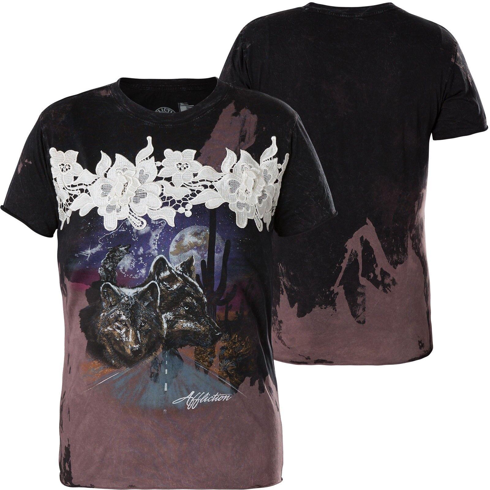AFFLICTION Damen Damen AFFLICTION T-Shirt Dark Summer Schwarz 9c52fb