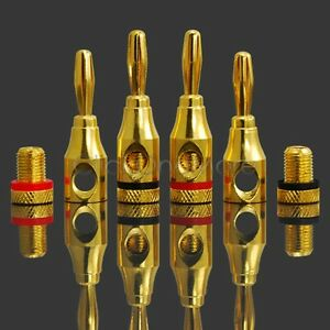 VOSO-8-X-Gold-plated-Musical-Speaker-Cable-Wire-Screw-Banana-Plug-Connector-4mm