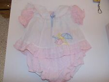 VINTAGE BABY GIRL'S PINK/WHITE DRESS/MATCHING RUBBER LINED PANTS/6-9 MOS.MAYFAIR