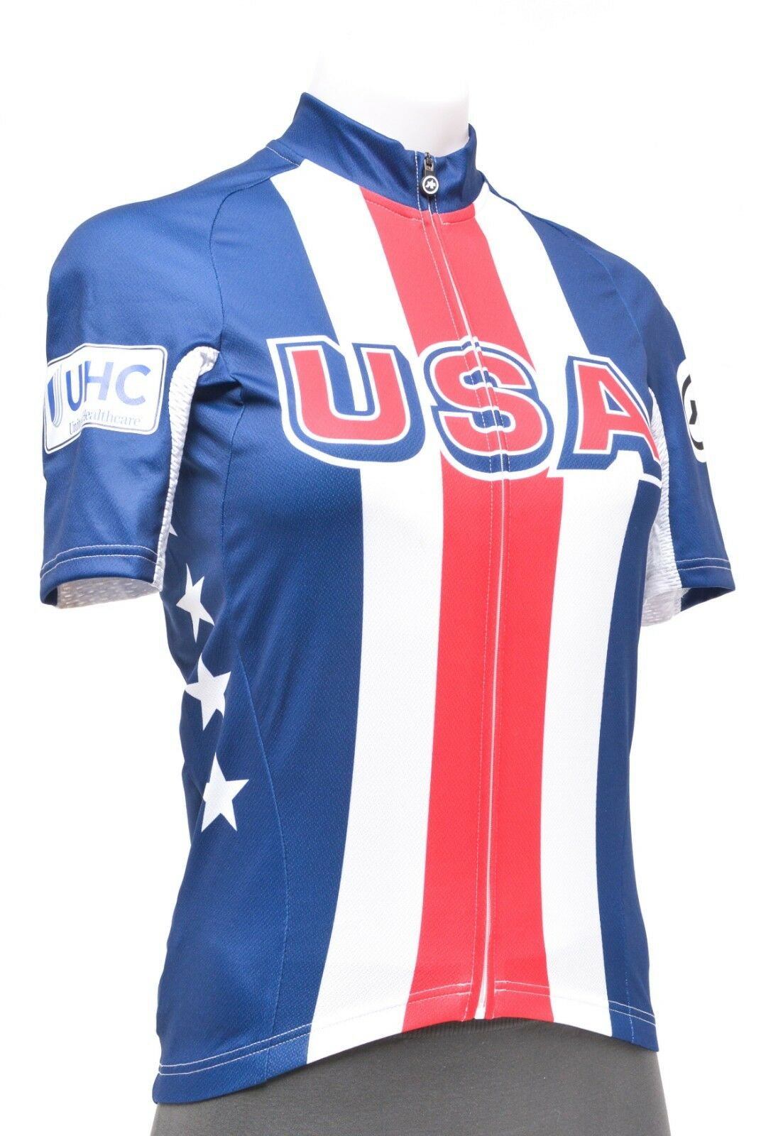 Assos Team USA SS Cycling Jersey XS Red White bluee Road MTB Bike Retro Stripe