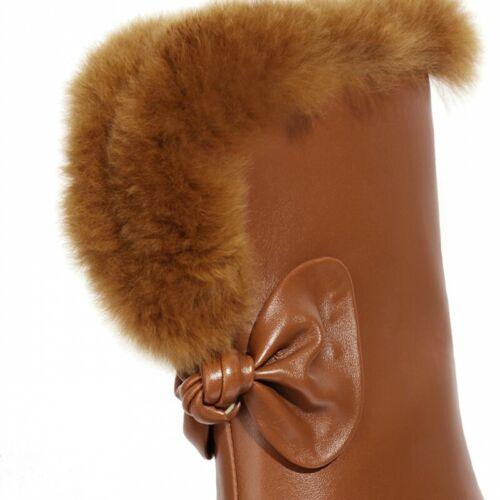 Details about  /Cowboy Women Mid Calf Boots Fur Trim Square Toe Block Heel Shoes 44//49 Winter L