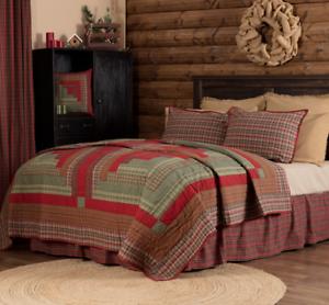 GATLINBURG-QUILT-SET-choose-size-amp-accessories-Log-Cabin-Block-Red-VHC-Brands