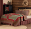 GATLINBURG-QUILT-SET-choose-size-amp-accessories-Log-Cabin-Block-Red-VHC-Brands thumbnail 1