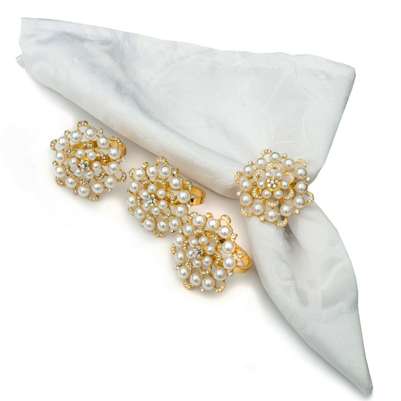 Cynthia Rowley White Pearl Beaded Napkin Rings Set Of 4 For Sale Online Ebay