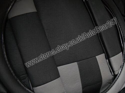 Black Grey Leather Look Split Rear Air Bag Friendly Full Car Seat Covers.Alaska