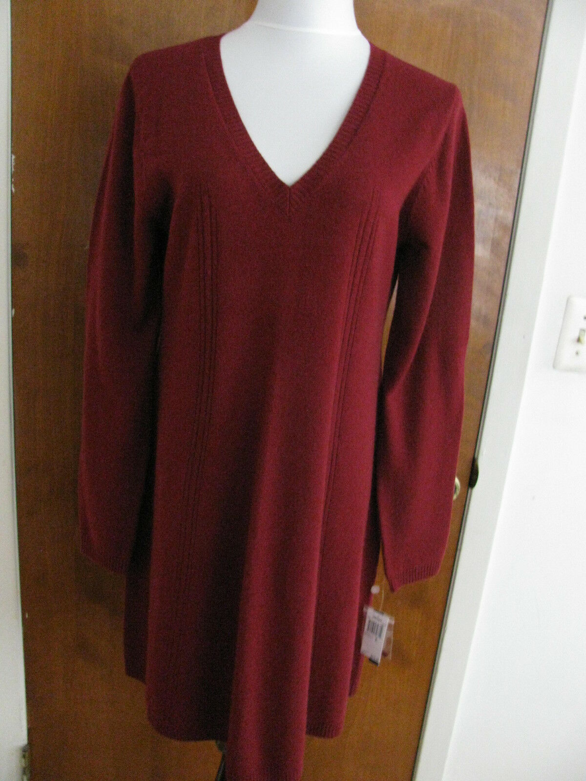 Chelsea&Theodore  women's burgundy wool cashmere detailed dress Xlarge NWT