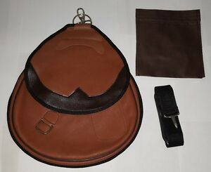 Falconry-Nubuck-Leather-Bag-Hawking-Bag-with-Strap-amp-Meat-Pocket-Tawny-Brown