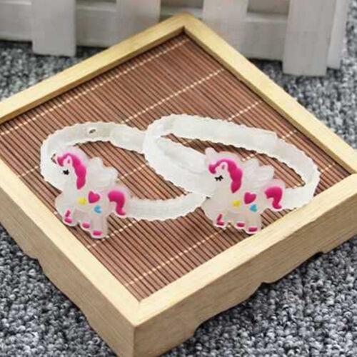 1//5//10Pcs CARICATURE Lumineux Silicone Licorne Bracelet Enfants Fête D/'anniversaire cadeaux