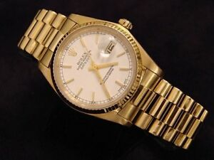Mens-Rolex-Solid-18K-Yellow-Gold-Datejust-w-White-Dial-amp-President-Style-Band