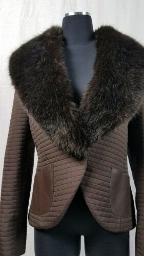 Elbow Fur Quiltet Læderlommer Og Faux Patches Jakke Vegan Lapel Sz10 Brun qXSd6xZw