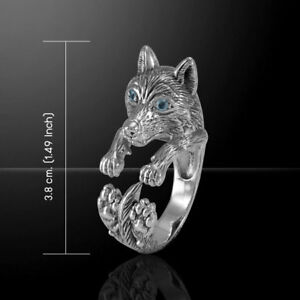 Wolf .925 Sterling Silver Ring par Peter Stone