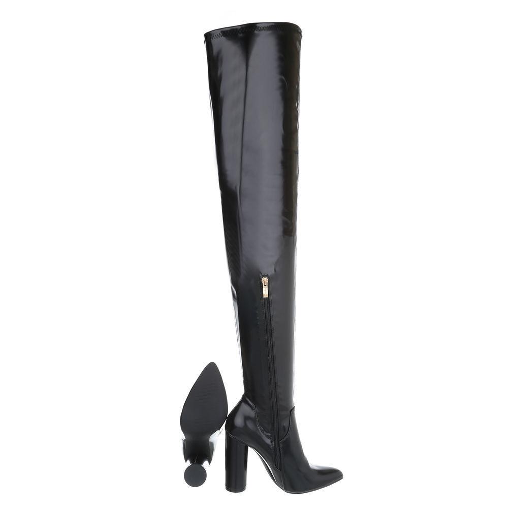 Fashion Overknee Stiefel Damen sexy High Heels langschaft Stiefel 92504 Schwarz 39
