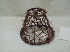 "NEW WOVEN VINE TWIG  CLIP-ON LAMP SHADE CHANDELIER CANDLESTICK SHADE 4"" HIGH"