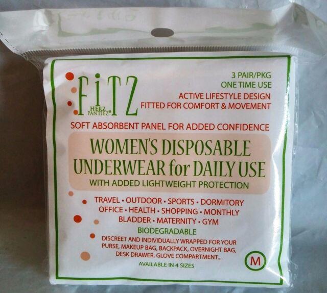 Fitz Womens Disposable Underwear 3 Pack Panties Spunlace  Sizes S M L XL