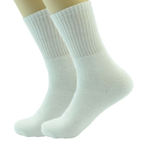 3 Pairs Mens White Sports Athletic Work Crew Cotton Casual Socks Size 9-11 10-13