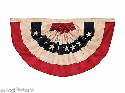 Weather resistant polyester Pleated Fan American Flag Holiday Bunting, 3' x 6'