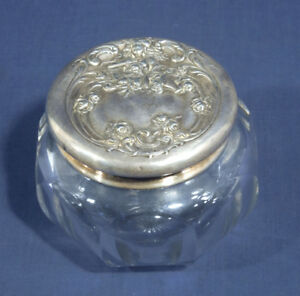 Vtg Antique Art Nouveau Vanity Powder Jar Dresser Jar Heisey Glass Repousse Lady