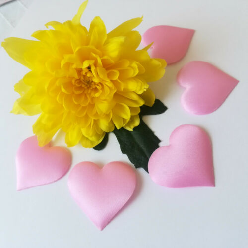 K65 50 Rosa große Herzen Stoffherzen Rosa Satinherzen Baby Taufe Streuteile