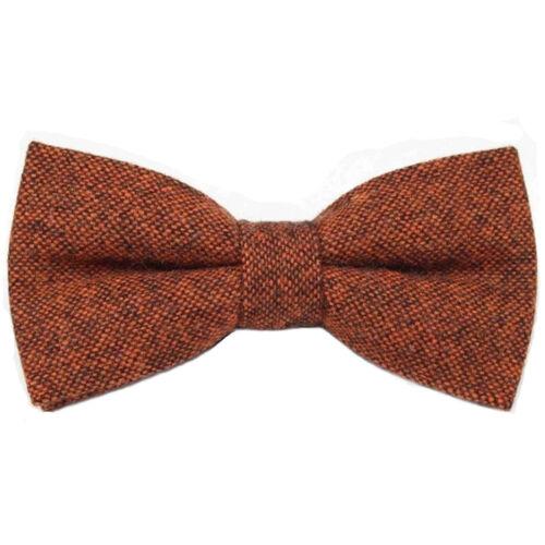 Nouveau Rusty Brown//Orange Brûlé tweed laine Pre-Tied Bow Tie /& Poche Carré Set.