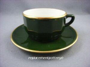 Apilco-Bistroware-Green-amp-Gold-Breakfast-Cup-amp-Saucer