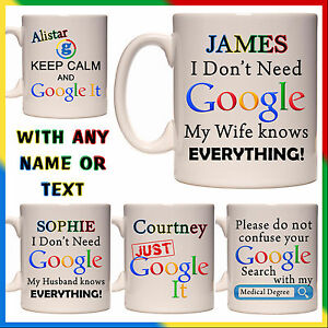 Image of: Https Image Is Loading Personalisedfunnygooglemuggiftwifehusbandknows Ebay Personalised Funny Google Mug Gift Wife Husband Knows Medical