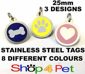 Dog-Cat-Tag-Quality-25mm-Stainless-Steel-PET-ID-Tags-8-Colours-ENGRAVING-OPTION