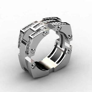 925-Silver-Filled-Rings-For-Men-Cubic-Zirconia-Cocktail-Party-Ring-Size-6-10